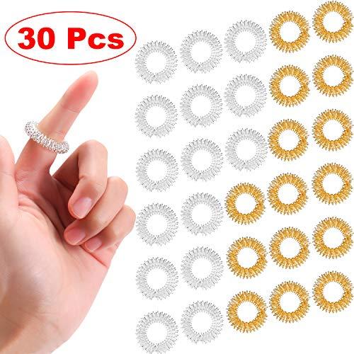 30 Stück Massage Ring Stachelig Sensorische Fingerringe, Stachelig Finger Ring/Akupressur Ring Set für...