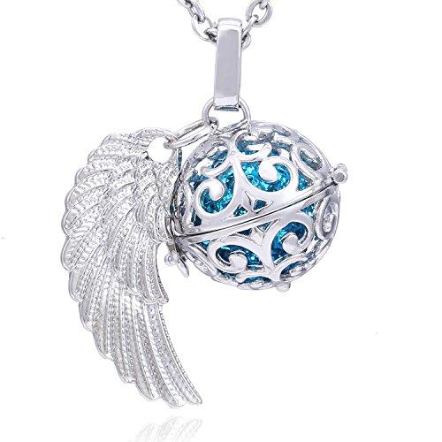 Morella Damen Schutzengel Halskette Edelstahl 70 cm mit Anhänger Engelsflügel und Klangkugel Zirkonia...