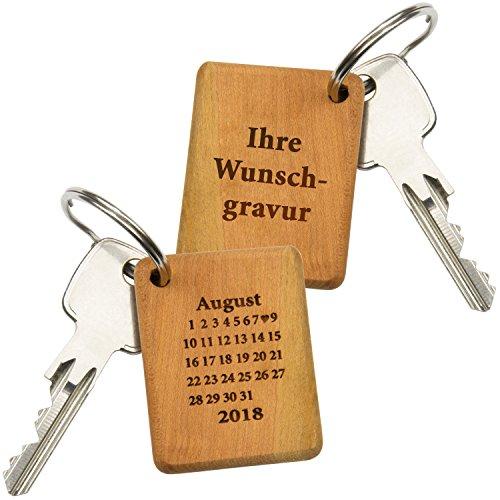 Schlüsselanhänger Holz Schönster Tag (mit Wunschtext): Schlüsselring mit Gravur für die Freundin –...