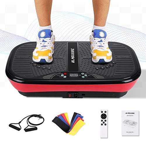 MaxKare Fitness Vibrationsplatte Vibrationsgeräte | 2 Schleifenbändern + 99 Geschwindigkeitsstufen + 10 Modi...