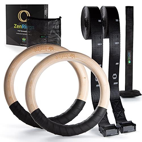 Turnringe Holz Ringe Turnen I ZenRings Fitness Gymnastikringe mit Türanker und Gurten inkl. Gratis E-Book,...