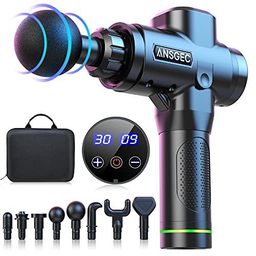 Massagepistole Massagegerät, ANSGEC Leistungsstarke 14MM Tiefengewebe Massage Gun 30 Geschwindigkeiten...