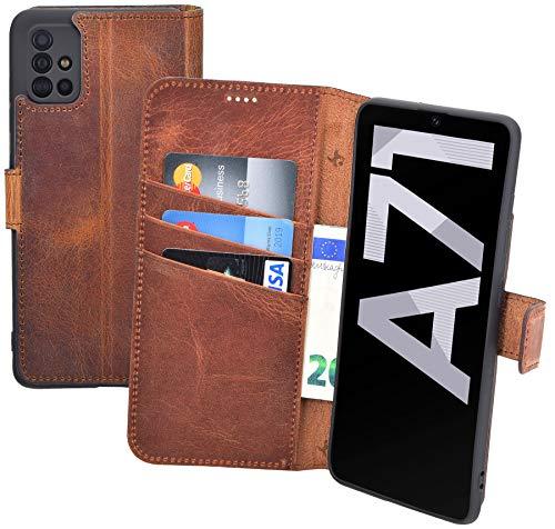 Suncase Book-Style Hülle kompatibel mit Samsung Galaxy A71 Leder Tasche (Slim-Fit) Lederhülle Handytasche...