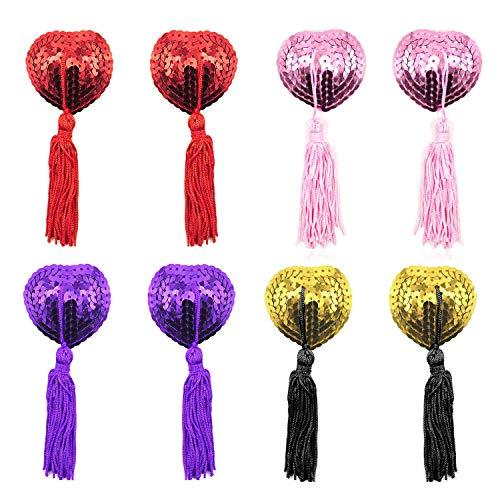 EQLEF Dessous Brust Blütenblatt Pasty, Klebstoff Pailletten Pasties mit Quasten, Nipple Covers Set von 4...