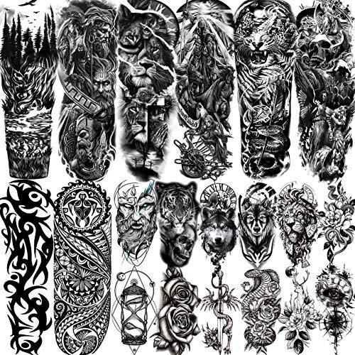 LAROI 20 Blätter Extra Groß Temporäre Tattoos Vollem Arm Männer Erwachsene, Temporäre Tattoos Frauen...