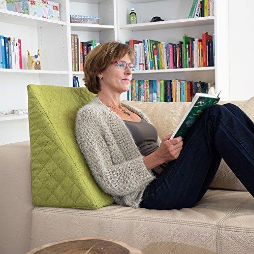 Sabeatex® Rückenkissen, Keilkissen für Couch und Sofa, Lesekissen für bequemes Sitzen. 5 Unifarben für...